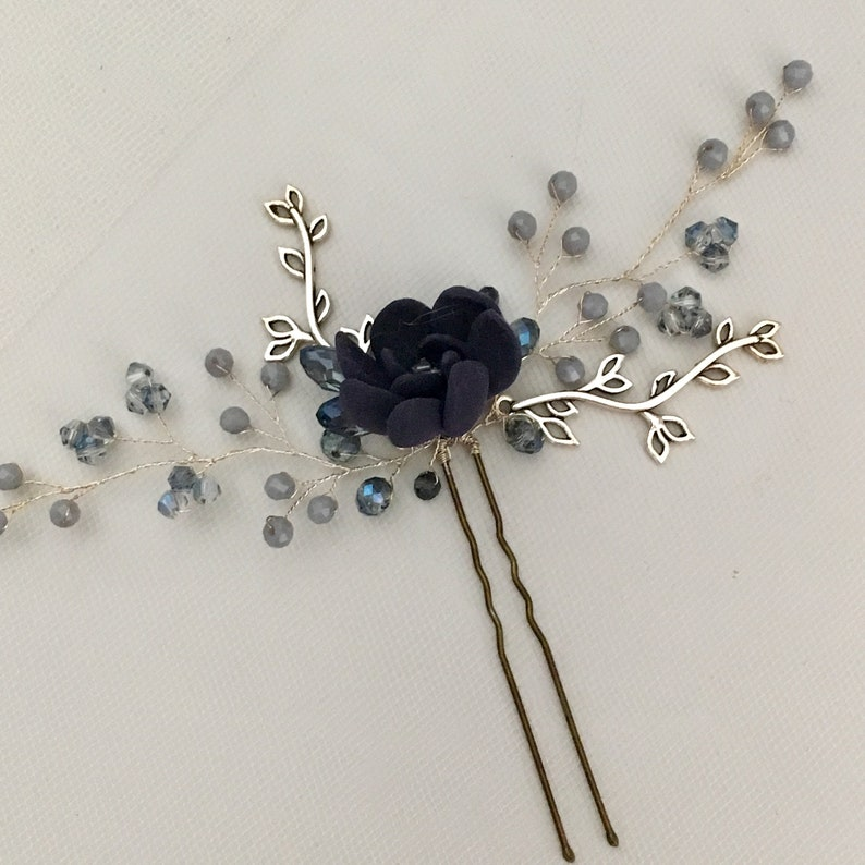 Hair pins with beads in blue and succulent wedding hairpin hair jewelry wedding style bride hair Polymer clay