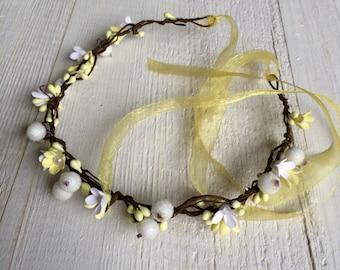 Flower wreath Summer wedding beach cottage hair Jewelry ribbon beaded berries in hair open-air feasts
