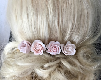 Hair pins with rose hair jewelry for bridal flowers in hair Decoclay handmade polymer Clay