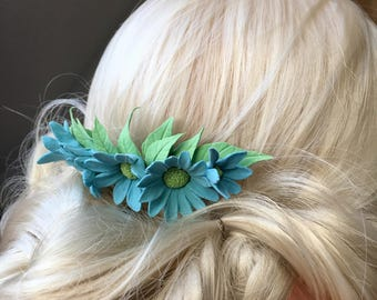 Decorative flower comb wedding jewelry daisies of clay flowers hair accessories hair comb summer jewelry
