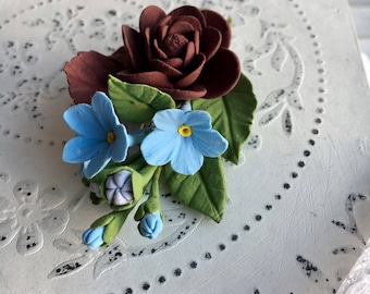 Hair Clip Jewelry with Handmade Flowers from Modeling Clay Flowers Hair Comb Hair Clip Forget-me-not Flowers Gift