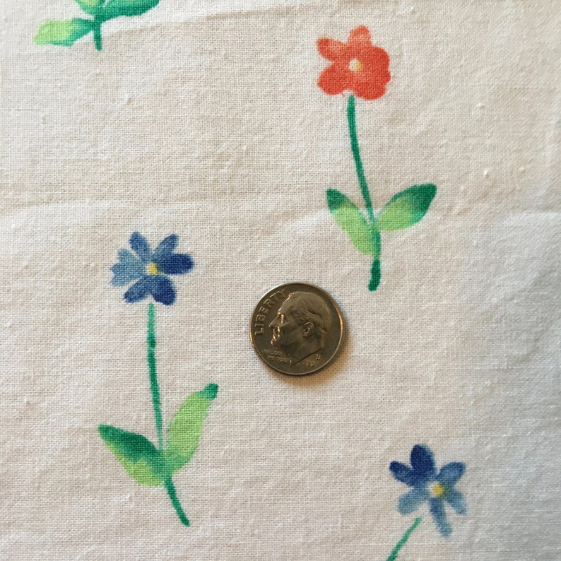 Floral Print Vintage Fabric 2 Yards Plus 30 Inches