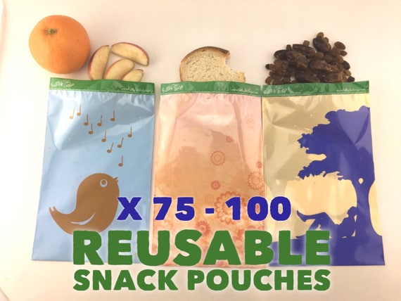 12 or 25 x Reusable Kids School Lunch Snack Bags Sandwich Pouch Environmentally Eco Friendly Lunch Reusable Produce Food Fruit Bag