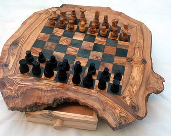 Elegant Chess Set, Unique Olive Wood Rustic Chess Board, Dad Gift, Christmas Present