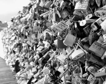 Paris, Black & White Photography, Love Locks, Romantic Prints, Paris Bedroom Decor, Abstract Art, Wall Art, Modern Art, Gift for Newlyweds