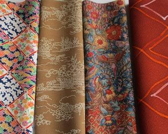 Sample Pack of Japanese Vintage Silk Kimono/Haori Fabric in 4 designs(each approx 25x35cm) Colours Blue, pink, beige, cream, orange & green