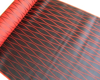 Vintage Japanese silk fabric - Available by the metre - Colour Dark blue and red