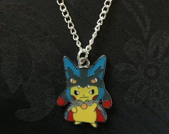 Silver Plated Nintendo Pokemon Cosplay Pikachu Lucario Necklace
