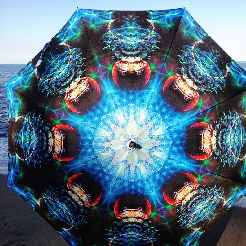 Art Umbrella - Blue Galactic Portal Design - CHANEL BARAN PHOTO   Extra  Large Festival/Sun/Rain/Golf Size Umbrella