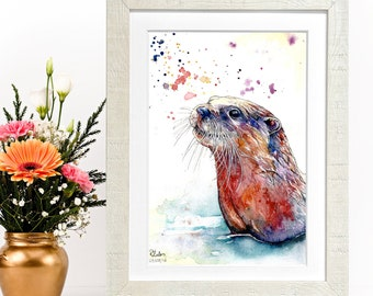 Swimming Otter Limited Edition A4 Watercolour and Pen Print