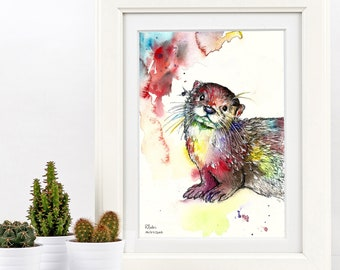 A3 Painting Watercolour Otter Colourful Original Art Print - Limited Edition