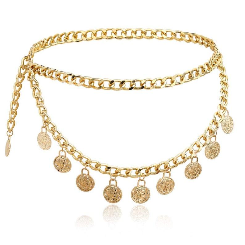 Gold Chain Belt Medallion Belt Belt Loop Gold Chain Dress Womens Gold Leaf Belt Long Dress Belt Gold Loop Dress