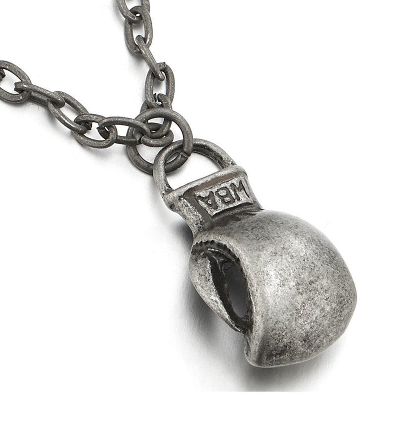 Vintage Retro Silver Boxing Glove Necklace Dusted Grey Pendant Creed Rocky