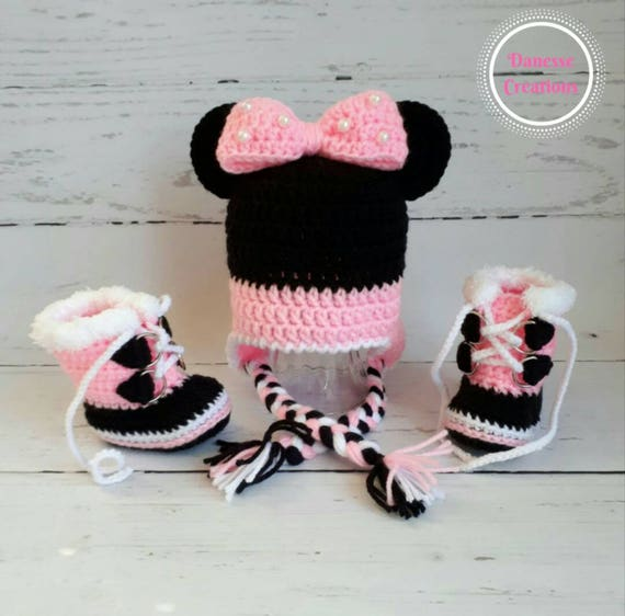 17223100311 Handmade Crocheted Minnie Mouse Inspired Earflap Hat   Sorels