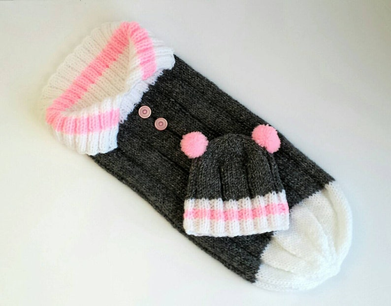 b817acd021c Handmade Knit Sock Monkey Cocoon and Hat Baby Shower Gift