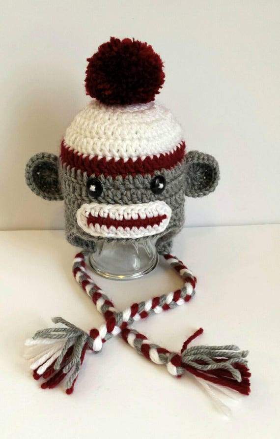 c7db04d7ea6 Handmade Crocheted Sock Monkey Hat   Sorels Baby Boy Baby