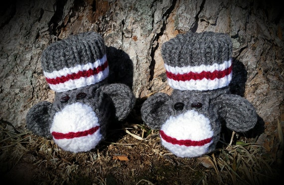 051d68d3935 Knit Slipper Socks Sock Monkey Teddy Bear Booties
