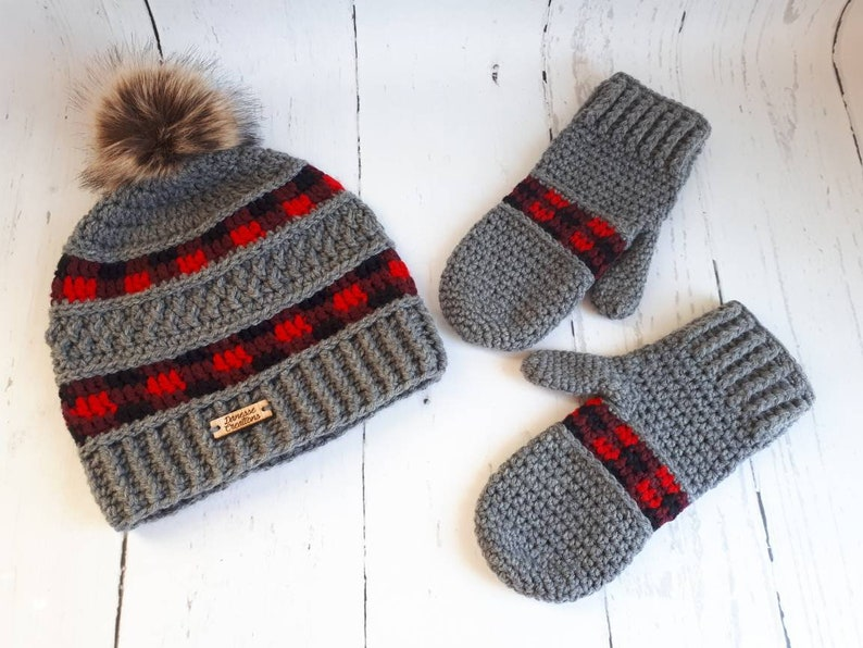 31fd5e9b0841c Crochet Peek A Boo moufles et bonnet à carreaux Plaid Bonnet