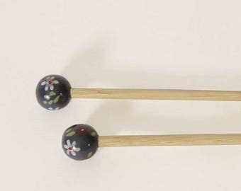 6 handcrafted bamboo knitting needles