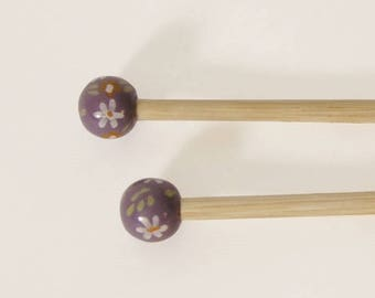 8 handcrafted bamboo knitting needles