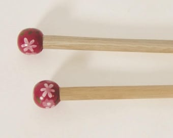 10 handcrafted bamboo knitting needles