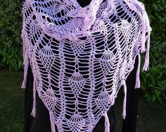 Purple cotton crochet shawl
