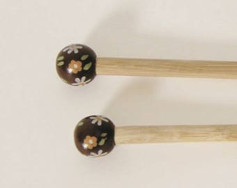 9 handcrafted bamboo knitting needles