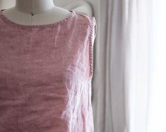 Linen Crop Tank / French Seam / Loose / Colorful / Natural / Plastic Free