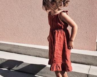 Mini Garden Dress / Linen Tie Dress / Handmade in USA / Plastic Free