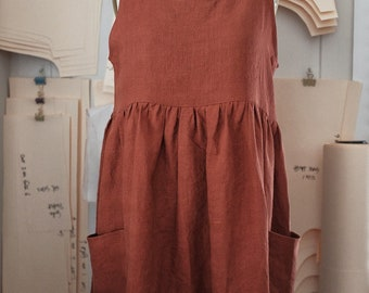 Womens gathered linen loose dress in Desert Red linen / simple romantic style / large front pockets/ preshrunk / french seams / ships plasti
