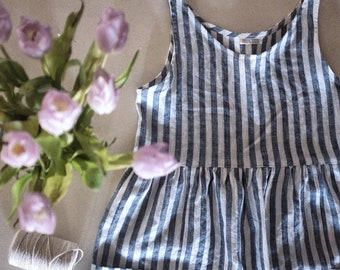 Womens gathered linen loose dress in stripe linen / simple romantic style / large front pockets / french seams / plastic free