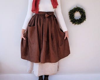 Pioneer Apron, gathered linen apron with front pocket, antique brass details, tie back, period, historical - many colors - plastic free ship