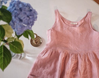 Womens gathered linen loose dress in pink linen / simple romantic style / large front pockets/ preshrunk / french seams / ships plastic free