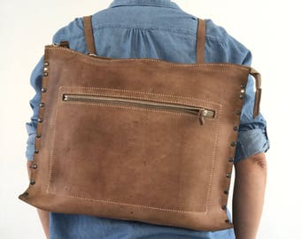 Brown vegetable tanned leather backpack, shoulder bag, crossbody bag, unisex