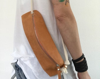 Faded orange small pocket bag, crossbody bag, bum bag if you want