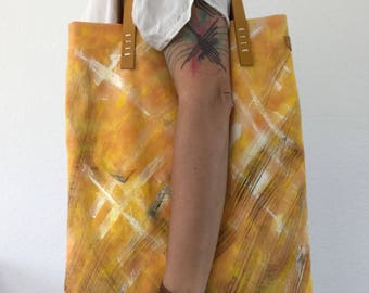 Handpainted yellow cotton tote with leather handles, repurposed cotton tote bag