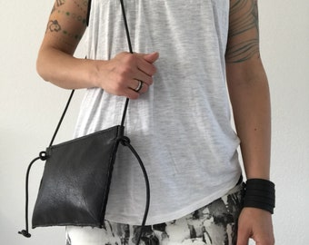 Black leather crossbody bag, shoulder bag