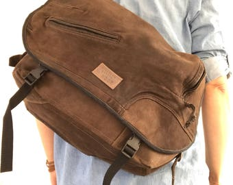 Dark brown leather bicycle messenger bag, crossbody bag, unisex