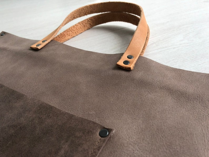 Light greyish brown leather tote