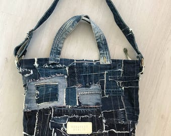 Distressed denim bag, crossbody bag, tote bag