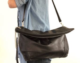 Black leather clutch, crossbody bag, shoulder bag