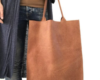 Camel brown leather tote bag