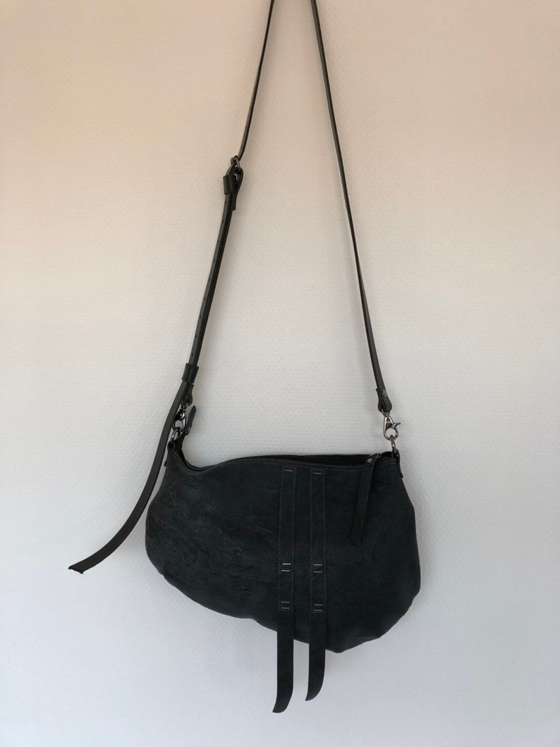 Dark grey leather crossbody bag shoulder bag sling bag