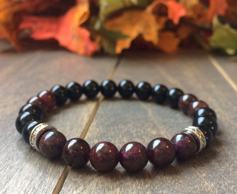 6eb371204d4 GARNET BRACELET Healing Stone Bracelets Garnet Wrist Mala image ...