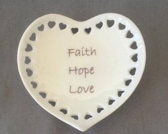 """Heart Mini Tray with Hearts - """"Faith Hope Love"""""""