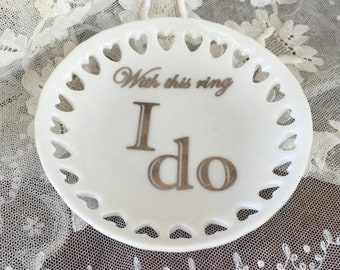 "Round Mini Tray with Hearts- ""With this ring"", ""I do"""