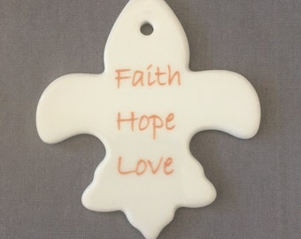 Fleur de lis Faith Hope Love Ornament