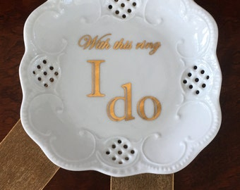 """Lacey Square Mini Tray - """"With this ring, I do"""""""