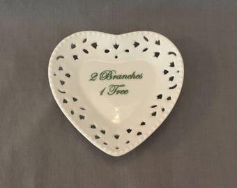 Heart Shaped Mini Ring Dish 2 Branches 1 Tree