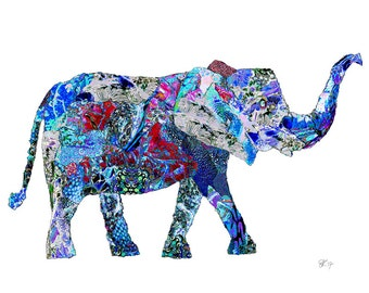 illustrated elephant postcard, art card elephant, art postcard,  colorful elephant print, animal greetings card -Eco Friendly Stationery